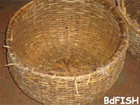 Bamboo basket used in icing of fish