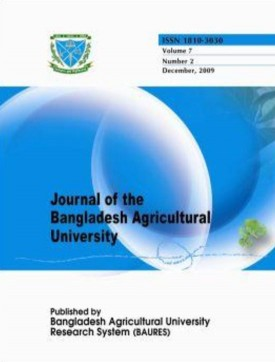 Cover page of Journal of the Bangladesh Agricultural University