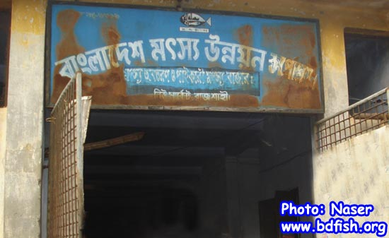 Entrance of BFDC fish landing center in Rajshahi